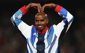 British Olympic champion runner Mo Farah executes the Mobot