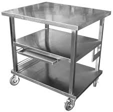 stainless kitchen work table: image of stainless steel work table cart