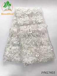 <b>Beautifical White</b> Wedding <b>Lace Fabric</b> 3D Flowers French <b>African</b> ...