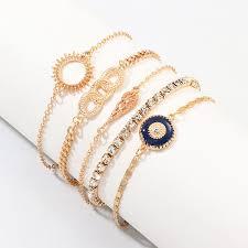 Buy <b>5 Pieces Women's Fashion</b> Bracelets Geometric Pattern ...