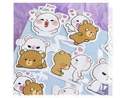 Hug Bear Sticker <b>Set</b>, <b>45 pcs</b>, Kiss, Heart, Love, Kawaii, Tackle ...