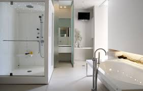 bathroom box transparent glass shower box white wooden mounting fitting white ceramic floor stainless steel crane white