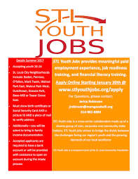 stl youth jobs applications open saint louis story stitchers city youth flyer summer 2017