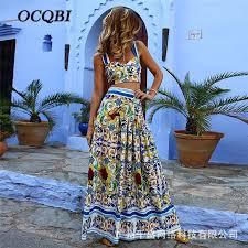 <b>2019 Women</b> Summer Long Dress <b>Bohemian Print</b> Sexy Elegant ...