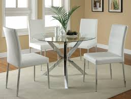 Modern White Dining Room Set L Modern Round Glass Dining Table With Chrome Polished Metal Leg