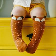 1 Pair Unisex <b>Lovely Cute</b> Cartoon Fox <b>Kids baby</b> Socks Knee Girl ...