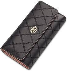Women Crown <b>PU</b> Leather High Capacity <b>Trifold</b> Organizer Wallet ...