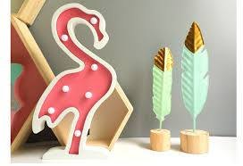INS Pink Flamingo Lamp Wooden <b>Table</b> Lamp <b>Nordic Style</b> Baby ...