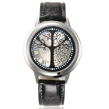 touch screen led <b>waterproof personality</b> tree shaped dial leather ...