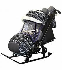 <b>Санки</b>-коляска <b>SNOW GALAXY</b> LUXE Kids 1-1 Plus олени на черном