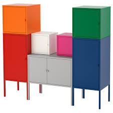 LIXHULT Storage combination - red/<b>orange</b>/<b>grey pink</b>/white, blue ...