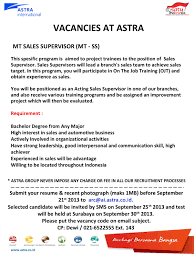 mt s supervisor mt ss pt astra international tbk sgu job this