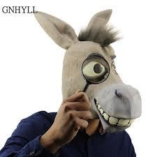 2019 Funny Adult <b>Creepy</b> Funny <b>Donkey</b> Horse Head <b>Mask Latex</b> ...