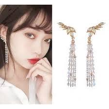 【MIKA】    Ready Stock <b>S925 Silver Needle Tassel</b> Earrings Crystal ...