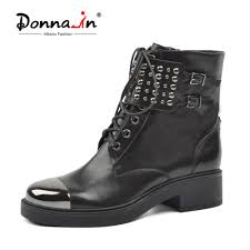 Donna in Martin <b>Punk</b> Boots Women <b>Genuine Leather</b> Ankle Boots ...