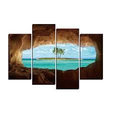 Sea Beach Isle Seascape,<b>4 Pieces</b> Home Decor <b>HD Printed</b> Modern ...