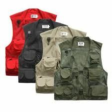 Men Fishing Vest Multi-Pocket <b>Quick Dry Mesh Vest</b> Jacket Outdoor ...