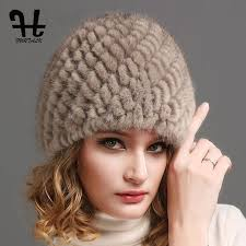 <b>FURTALK Women Luxury knit</b> mink fur hat winter fur hat Russian ...
