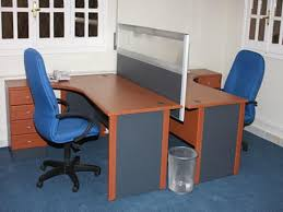 face to face l shape tablestation for two persons with divider blue office chairs with wheels blue curved office desk dividers