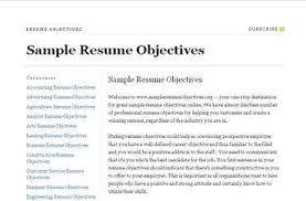a good objective for a job resume resume career objective good objectives in a resume