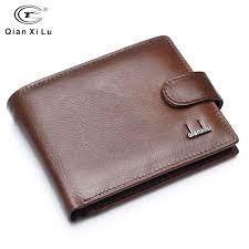 Qianxilu Brand <b>Split Leather Men</b> Wallets With Coin Pocket Brown ...