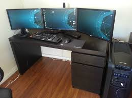 home office computer desk setup cool computer room design ideas double painted rectangle wooden material small bedroomdelightful ergonomic offie chair modern cool office