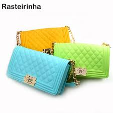 Jelly Messenger Luxury Bag Solid Color Chains Cross Body Bags ...