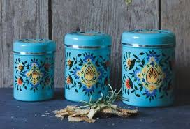 vintage turquoise metal kitchen canister set
