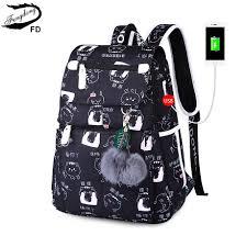 FengDong <b>backpacks</b> for teenage girls <b>school</b> bags black usb ...