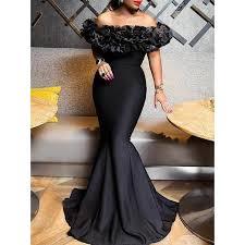 <b>Sexy Women</b> Mermaid <b>Dress</b> 2019 Slash Neck Black <b>Long Maxi</b> ...