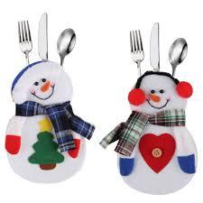 household dining table set christmas snowman knife: hot sales snowman christmas xmas silverware tableware dinner party decor cutlery holderchina mainland