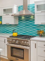 Turquoise Kitchen Remodeled Kitchen W Wavy Turquoise Backsplash White Cabinets