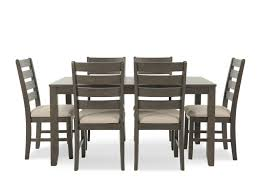 seven piece dining set: ashley rokane brown rectangle seven piece dining set