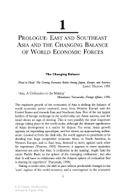 prologue east and southeast asia and the changing balance of inside