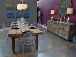 Gray Dining Room Eclectic Purple And Gray Dining Room With Rustic Dining Table Hgtv