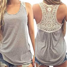 Womens Tops Shirt Ladies Sleeveless <b>Scoop neck Lace</b> Cropped ...