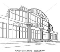 3d architectural abstract office concept modern architecture art drawing office