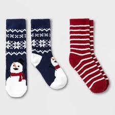 <b>Kids</b>' 2pk <b>Snowman</b> Holiday Cozy <b>Socks</b> - Wondershop™ Blue/Red ...