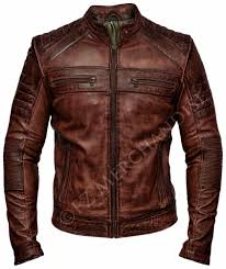 Leather Jacket <b>Men</b> Brown Motorcycle <b>Cafe</b> Racer Biker Leather ...