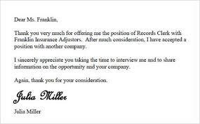 Letter Rejecting Job Offer Rejection Letter Rejecting Job Offer ... letter rejecting job offer rejection letter rejecting job offer: letter to job