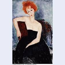 <b>Red</b> headed <b>girl</b> in evening dress 1918 - <b>Oil painting</b> reproductions