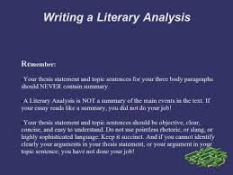 writing a literary analysis personal response you explore your writing a literary analysis re member your thesis statement and topic sentences for your three
