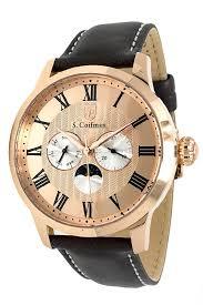 S .Coifman <b>Men's Leather Mens</b> Quartz 44 mm <b>Rose Gold</b> Case ...