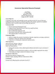 insurance agent resume sample   resume sample    insurance specialist resume example