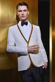 Online Shop <b>Latest Coat Pant Designs</b> White Gold Trim Tuxedo ...