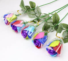 20pcs Colorful Soap Rose Flowers For Wedding Party Birthday Gift Favors Home Office Hotel Decoration
