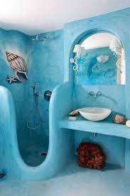 ideas modish beach themed bathroom designs using interior mural paint on blue wall colors with round beach theme lighting