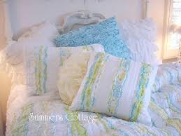 the beautiful matching bedding and coordinating pillows shown below may be available in our blue shabby chic bedding