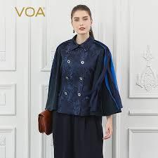 <b>VOA Silk Jacquard</b> Women Jacket Tassel Navy Blue <b>Cool</b> Double ...