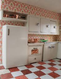 painted kitchen cabinets vintage cream: kitchen floral patterned wall painted ideas and cool retro kitchen cabinets design red white tile